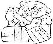 cadeaux ourson de noel dessin à colorier
