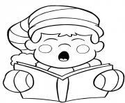 chanter chansons de noel dessin à colorier