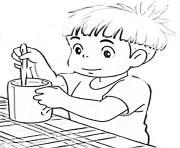 ponyo avec un cafe dessin à colorier