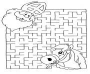 labyrinthe jeux noel dessin à colorier