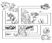 labyrinthe jeux poisson dessin à colorier