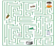 Coloriage labyrinthe carotte biscuit soupe