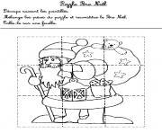 jeux puzzle pere noel 1 dessin à colorier