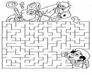 labyrinthe jeux cheval dessin à colorier