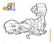dora recoit un cadeau de babouche dessin à colorier