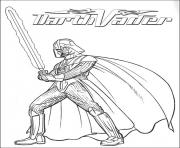 Coloriage star wars dark vador sabre laser
