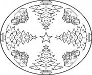 mandala sapin de noel dessin à colorier