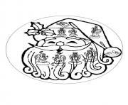 mandala pere noel heureux dessin à colorier