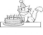 chat anniversaire dessin à colorier