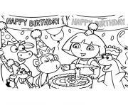 dora anniversaire dessin à colorier