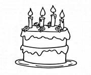 gateau d anniversaire cremeux dessin à colorier