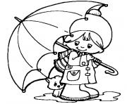 petit garcon et son chien sous le parapluie dessin à colorier