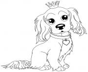 Coloriage chien king charles avec sa couronne
