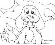 petit chien aux longues oreilles dessin à colorier