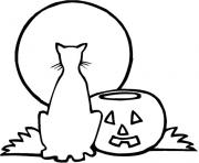 Coloriage halloween chat