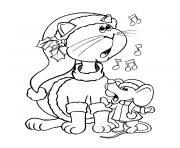 souris et chat dessin à colorier