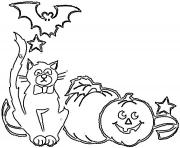 Coloriage halloween de chat