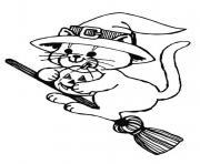 halloween chat avec chapeau dessin à colorier