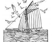 mer bateau dessin à colorier