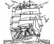 mer et bateau dessin à colorier