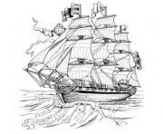 bateau capitaine crochet dessin à colorier
