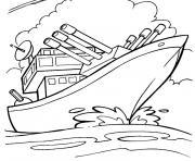 bateau de guerre dessin à colorier