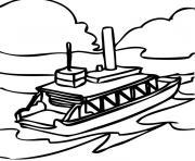 bateau mouche dessin à colorier