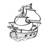 bateau pirates des caraibes dessin à colorier