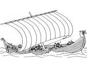 bateau viking dessin à colorier