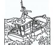 bateau de peche dessin à colorier