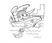 bateau police dessin à colorier