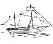 bateau voile dessin à colorier