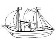 bateau peche dessin à colorier