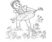 fille cueillir des fleurs dessin à colorier