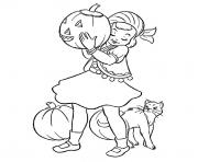 Coloriage fille halloween