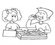 fille et garcon dessin à colorier