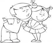 garcon et fille amoureux dessin à colorier