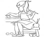 fille fete paques dessin à colorier