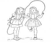 fille jumelles corde a sauter dessin à colorier