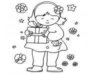 petite fille cadeau fleurs dessin à colorier