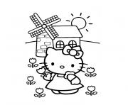 fille hello kitty dessin à colorier