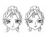 tetes filles manga dessin à colorier