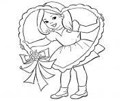 petite fille valentine dessin à colorier