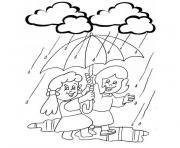 petites filles heureuses sous la pluie dessin à colorier