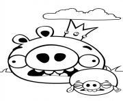 deux angry birds cochons peureux dessin à colorier