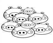 angry birds tas de cochons en famille dessin à colorier