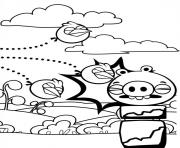 Coloriage angry birds dohors les cochons