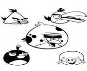 equipe de cinq angry birds dans les airs dessin à colorier