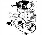 angry birds en groupe oeufs la fete dessin à colorier