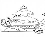 Coloriage angry birds noel sapin